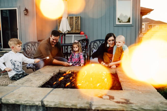 Kansas City Family Photography At Home Photo Session Kid Mom Dad Front porch back porch fire pit backyard