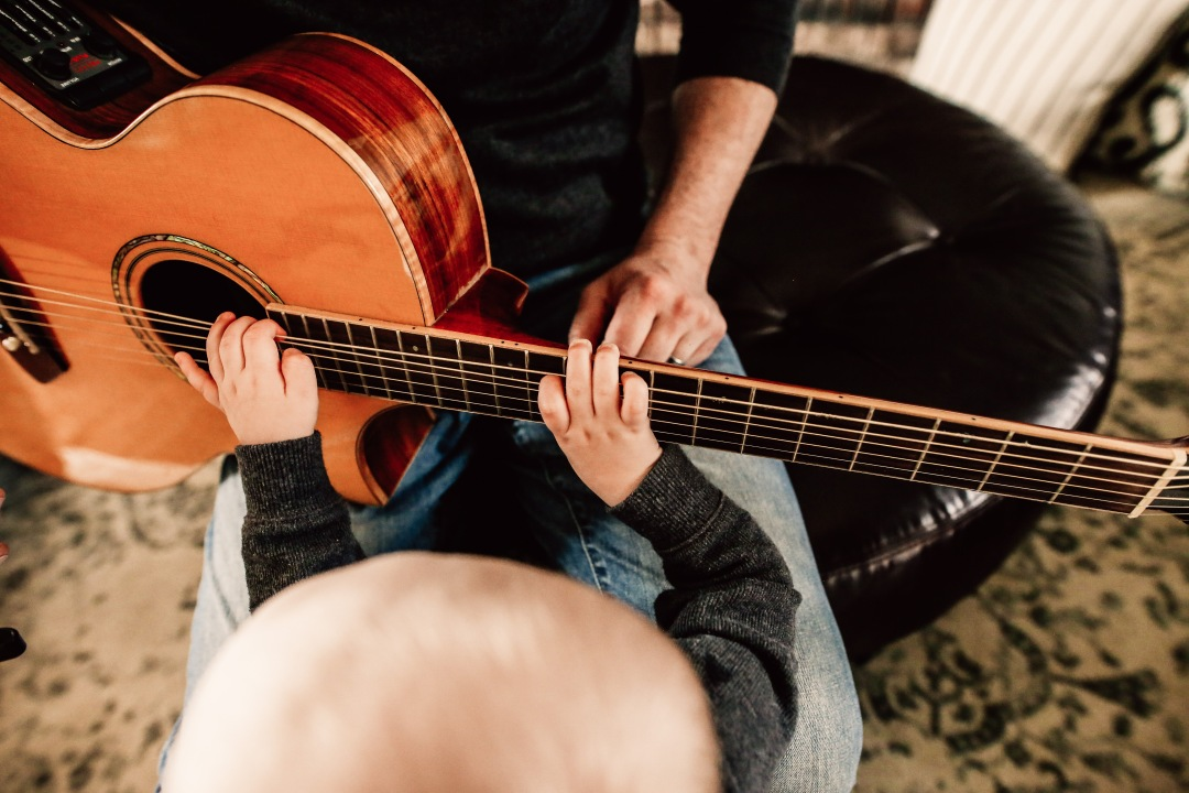 Kansas City Family Documentary Lifestyle Photography Baby Guitar