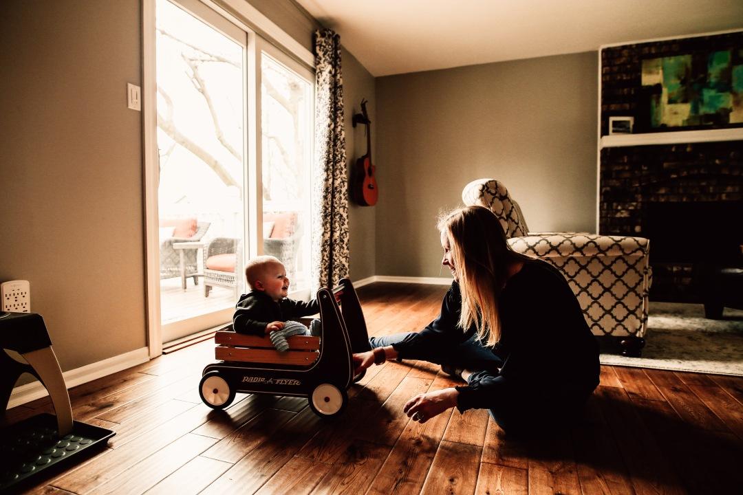 Kansas City Family Documentary Lifestyle Photography Baby Mommy Wagon