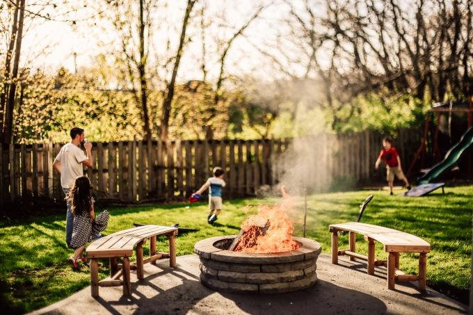 Kansas City Family Summer Fire Pit Backyard Photography