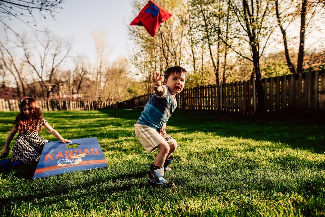 Kansas City Family Child Backyard Summer Photography