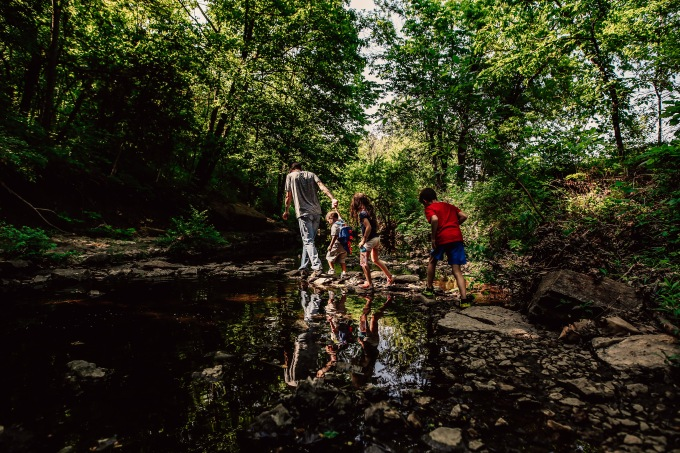 Kansas City Family Photography Adventure Creek Kid Dad Explore
