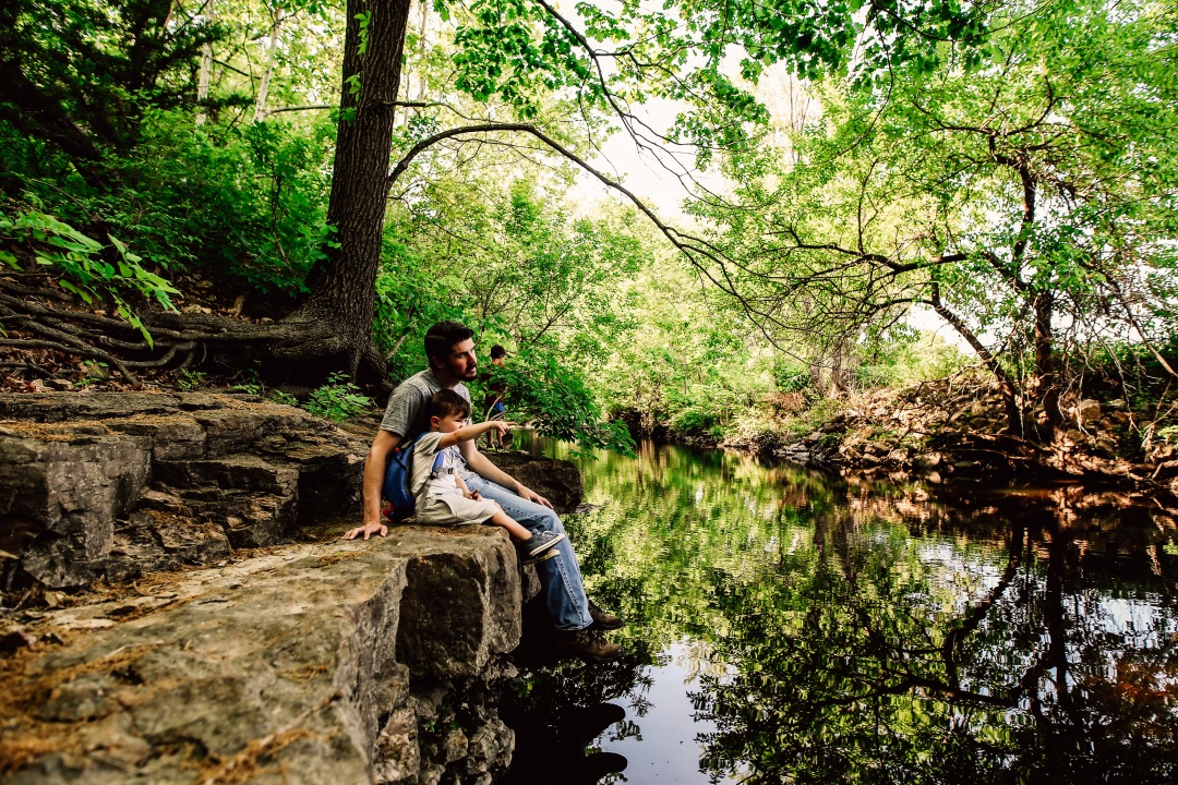 Kansas City Family Photography Adventure Creek Kid Dad Explore