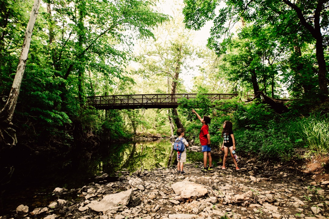 Kansas City Family Photography Adventure Creek Kid Dad Explore bridge child