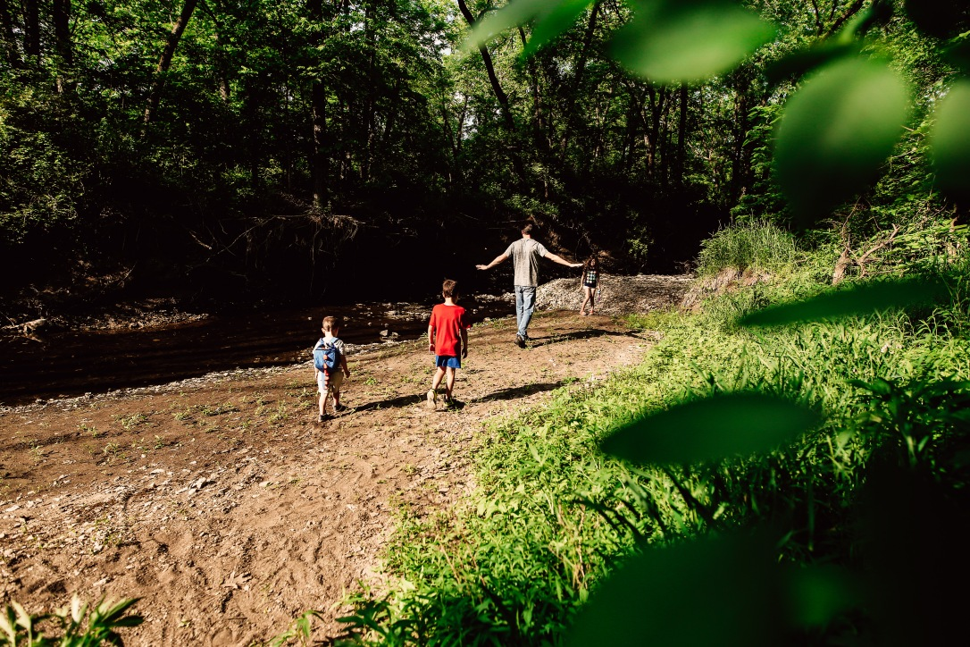 Kansas City Family Photography Adventure Creek Kid Dad Explore beach
