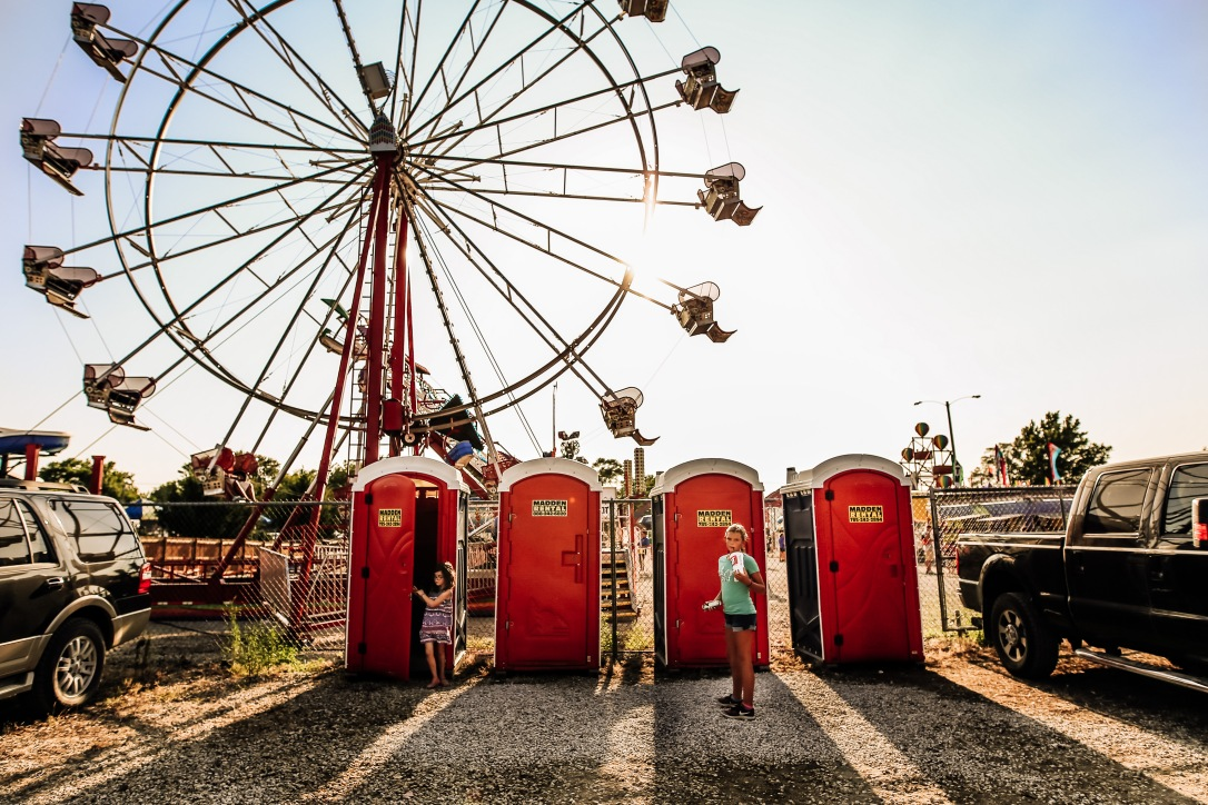 County Fair Girl Ferris Wheel Photography Courtney MaCaire Johnson County Kansas Port-a-potty bathroom
