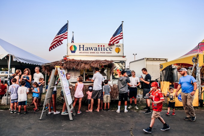 County Fair Sno Cone Stand People Family