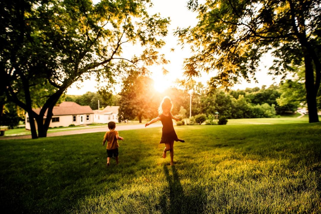 Sunset Girl dancing boy running backyard summer