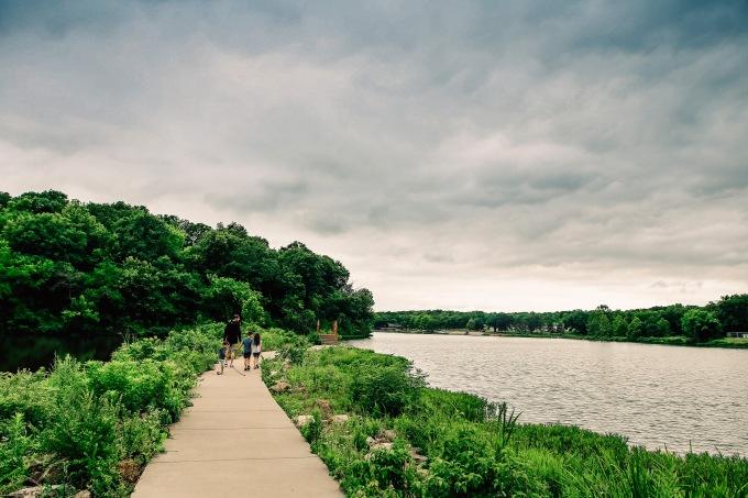 Family hiking lake nature documentary photography