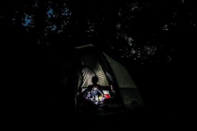 backyard camping night low light photography summer kids