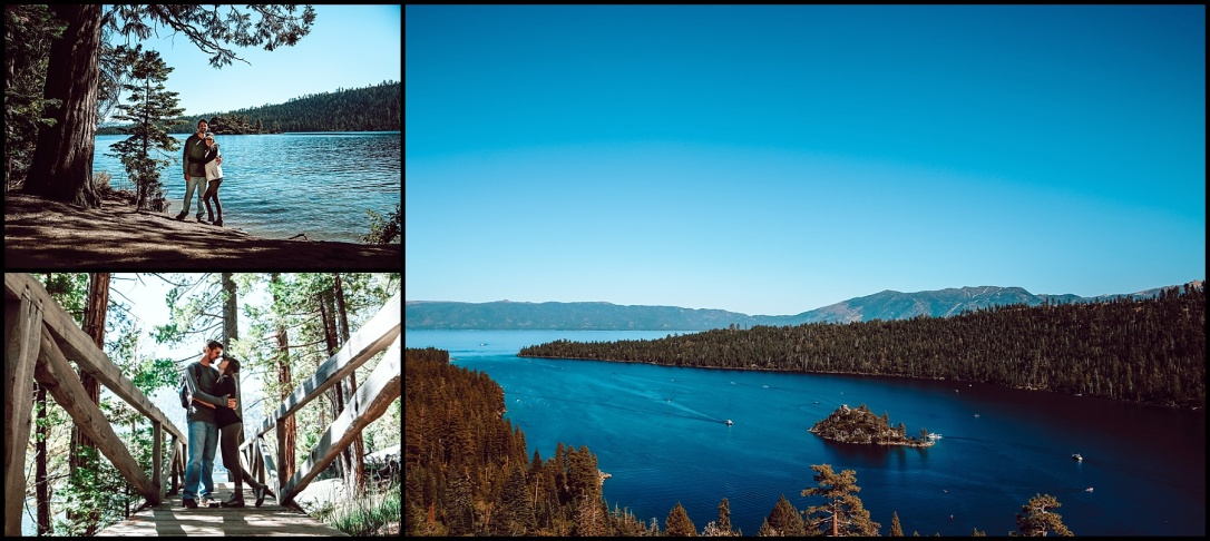 Emerald Bay Lake Tahoe California Couple Hiking Rubicon Trail Vikingsholm