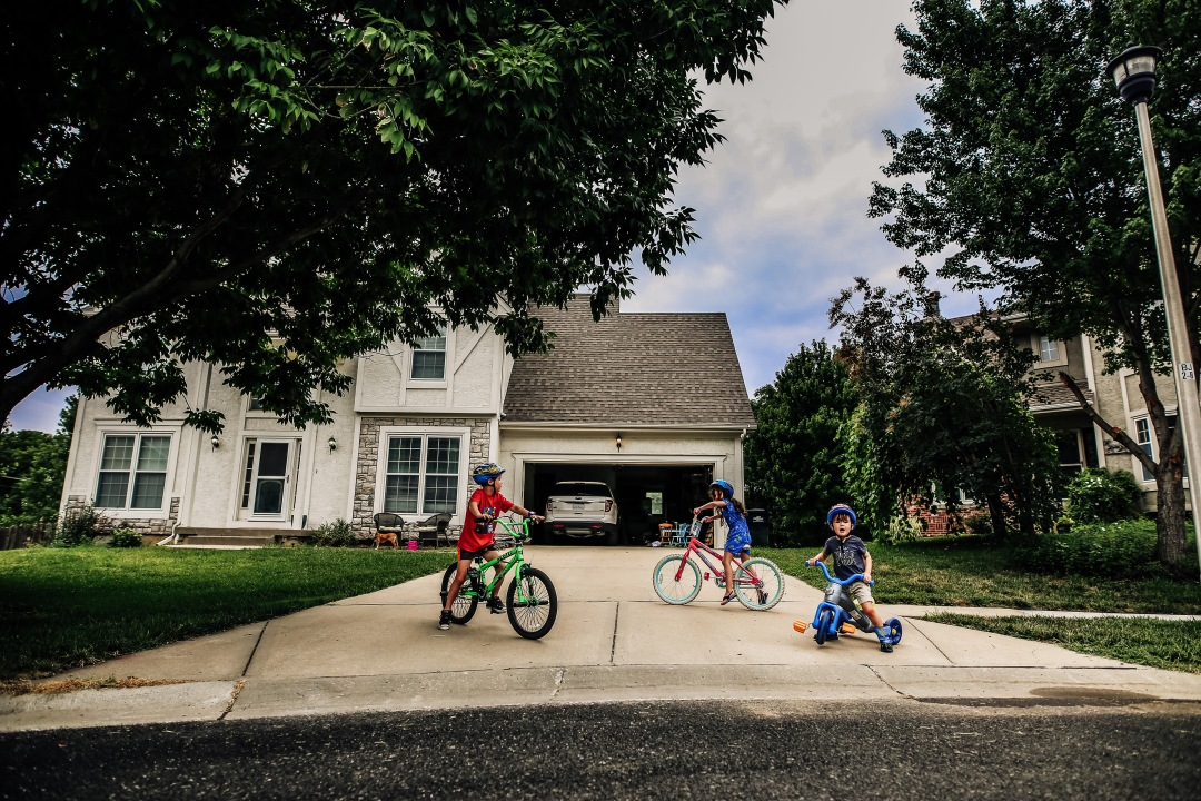 Children bikes summer kansas city cul-de-sac