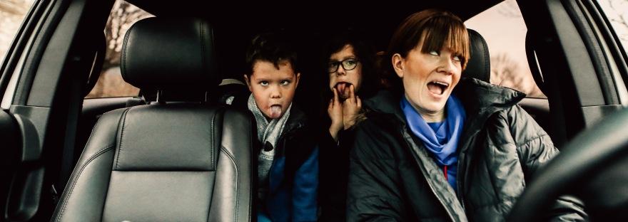self portrait car mom kids funny faces