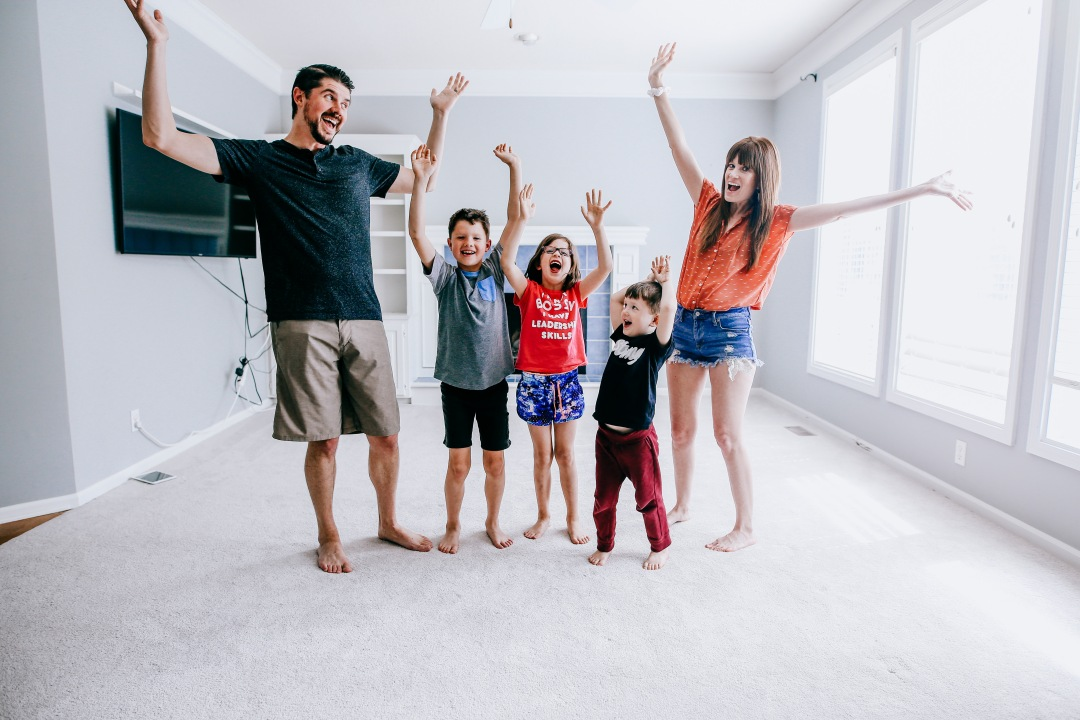 family happy living room new house renovation joy