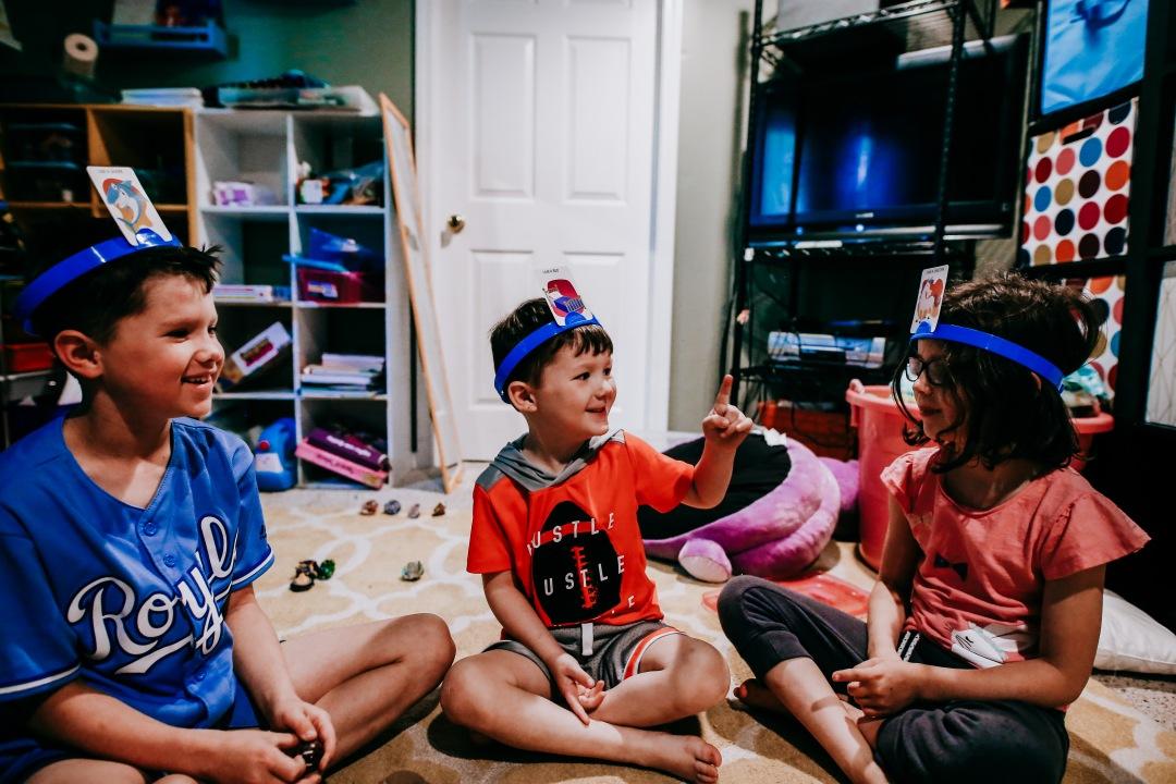 kids board game headbands laugh family fun