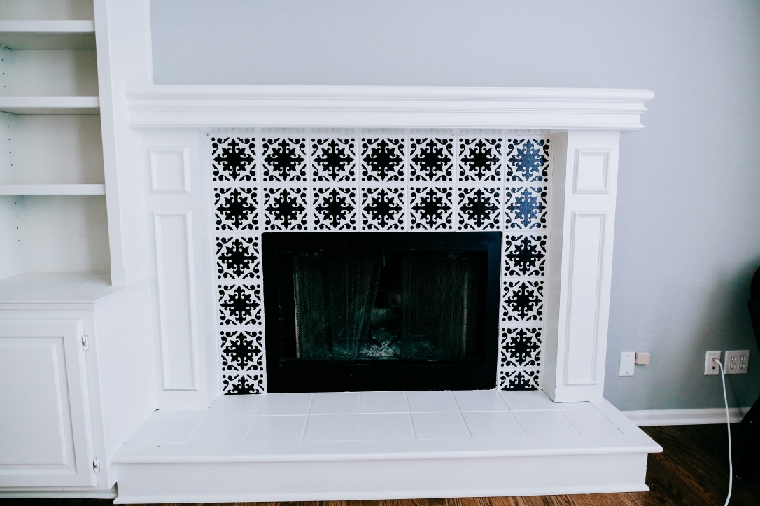DIY fireplace stencil paint update black white modern