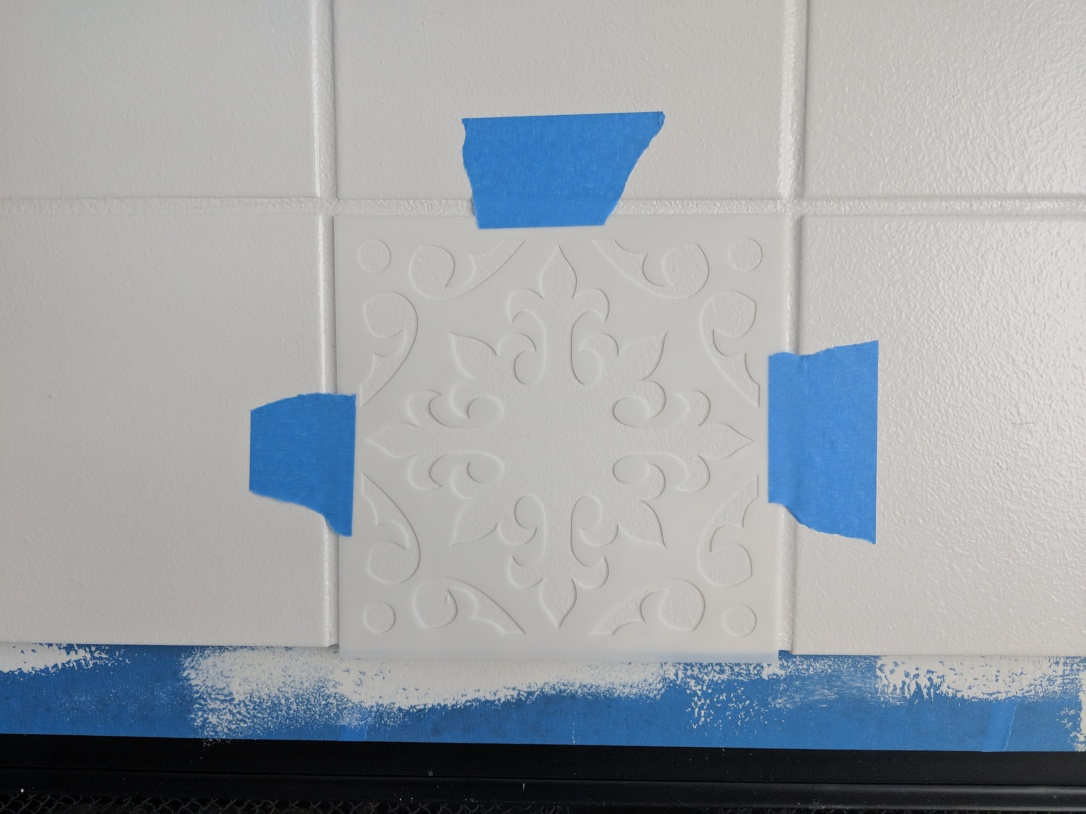 fireplace update reno home decor paint stencil tile