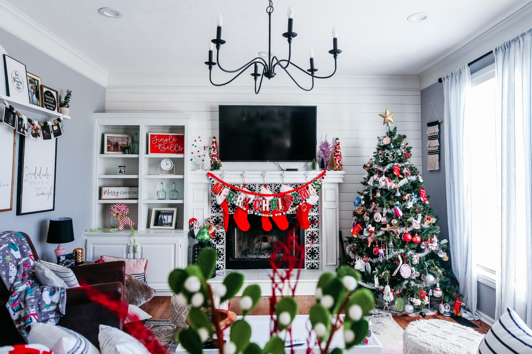 Christmas mantel holiday decor pom pom trees multi colored stockings DIY