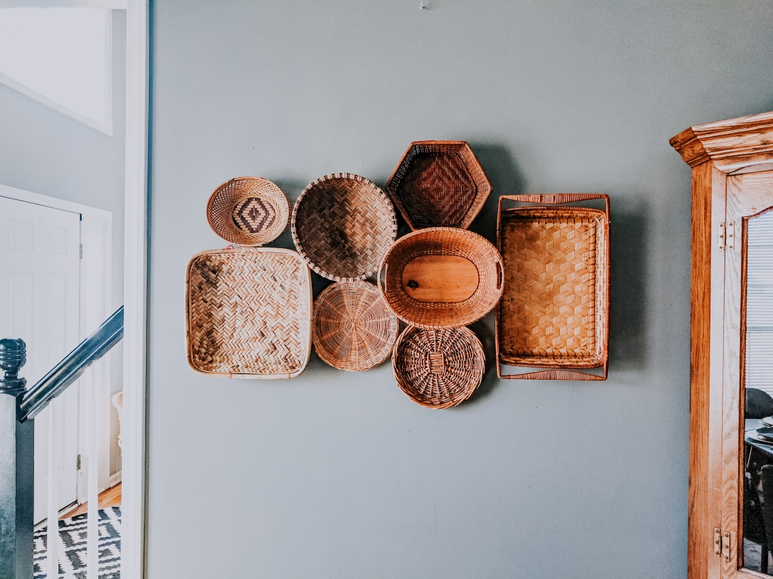 DIY thrifted basket wall design decor boho modern